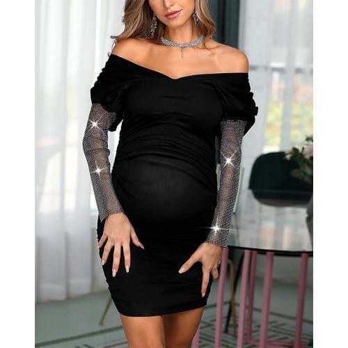 Maternity Black Shiny Sleeve Dress
