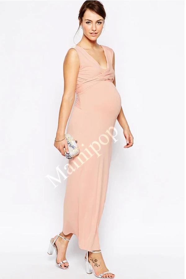 Summer V-Neck Maternity Maxi Dress Pregnant Women Long Evening Party Prom