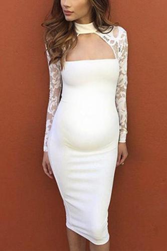 Maternity Neck Lace Patchwork Dress
