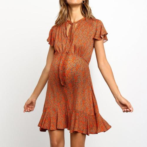 Maternity lace-up collar short sleeves floral patten ruffled dress