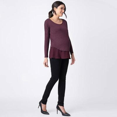 Pregnant woman autumn and winter breastfeeding leave two solid-colored long-sleeved top