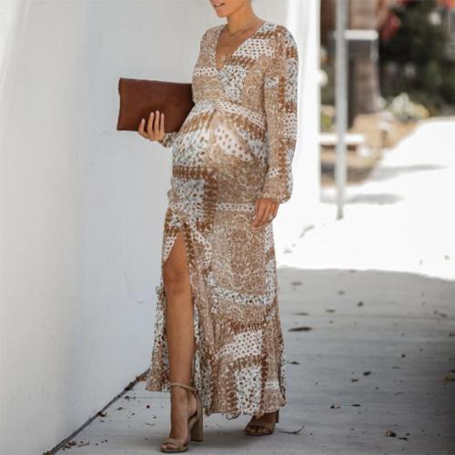Maternity V-neck Long Sleeve Split Print Maxi Dress