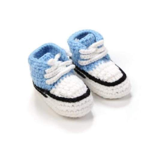 Multicolor Handmade Crochet Baby Crib Shoes Booties