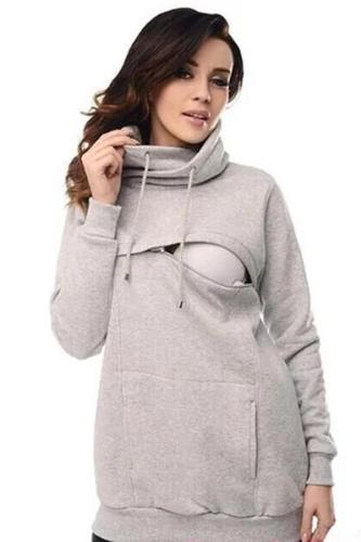 Women Drawstring Cowl Neck Long Sleeve Maternity Sweatshirts Zip Front Nursing Hoodies