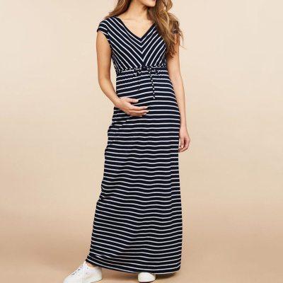 Maternity Elegant Dress Women's Pregnanty Short Sleeve Summer Stripe Long Dress