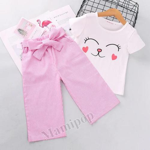 2020 Summer Children's Short-sleeved Set Korean version cartoon top striped trousers two sets