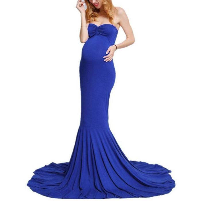 Maternity Elegant Solid Color Tube Floor Length Gown