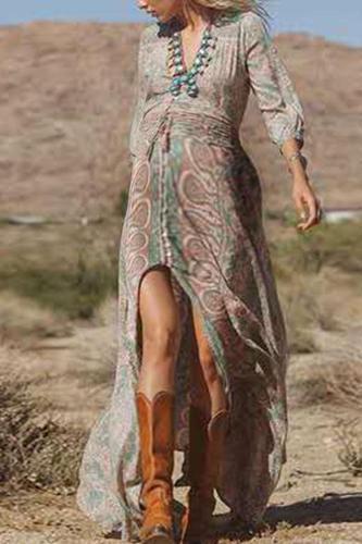 Casual Printed V Neck Slit Dress