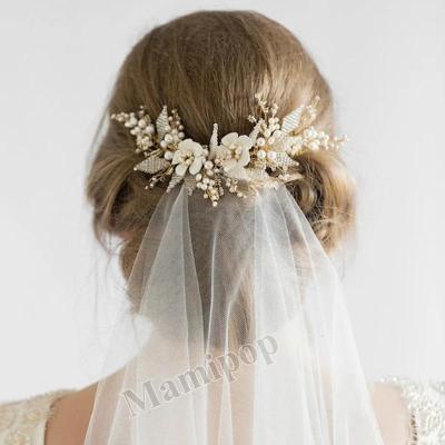 White Flower Bridal Hair Comb Pearl Beads Wedding Hair Accessories