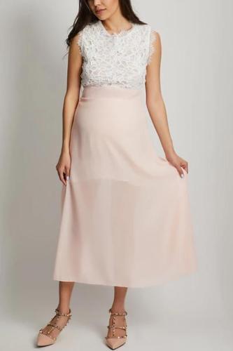 Maternity Round Neck Lace Patchwork Color Block Maxi Dress