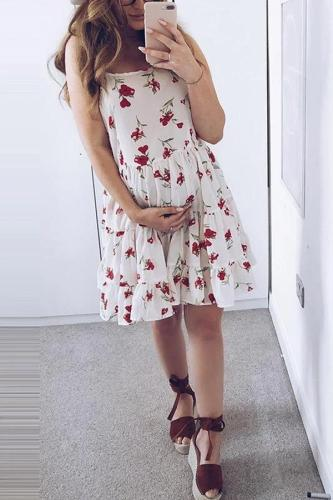 Maternity Casual Floral Printed Sleeveless Dress