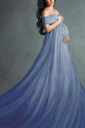 Maternity Blue Off Shoulder Short Sleeve Full Length Dress