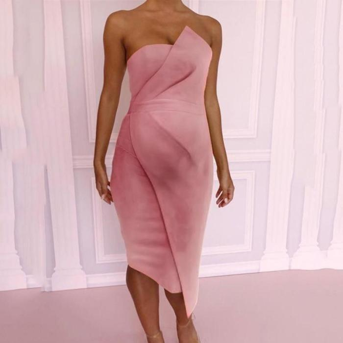 Maternity New Plain Shoulder Out Tube Top Dress