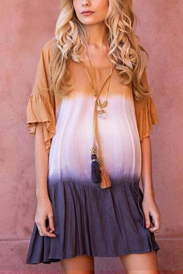 Maternity Tie Dye Gradient Round Neck Flared Dress