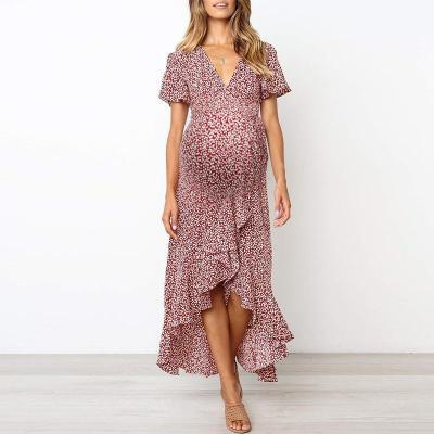 Maternity Printed V-neck short-sleeve irregular dress
