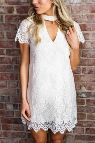 Maternity Short Sleeve Lace Mini Dress