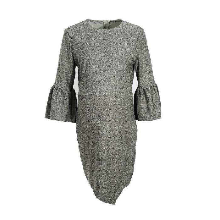 Elegant Pure Color Flare Sleeve Package Hip Dress
