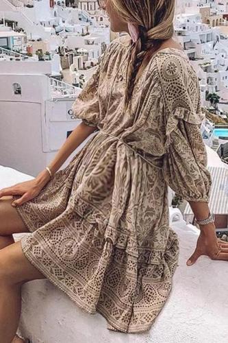 Maternity Bohemian V Neck Long Sleeve  Dress