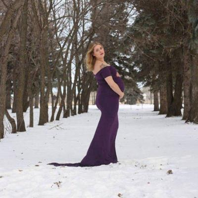 Cotton Maternity Long Dresses Off Shoulder Short Sleeve Wedding Maternity Pregnant Dress
