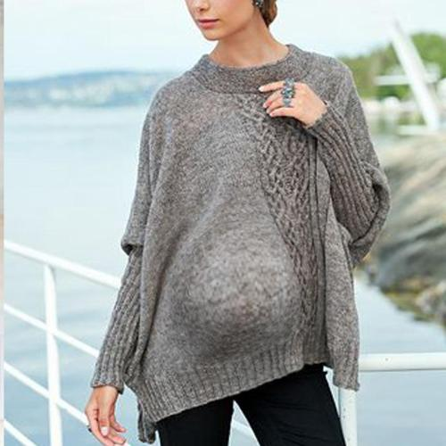 Maternity Casual Round Neck Pure Color Sweater