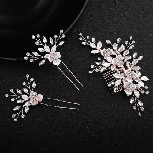 Rose Gold Flower Handmade Bridal Comb Wedding Hair Accessories