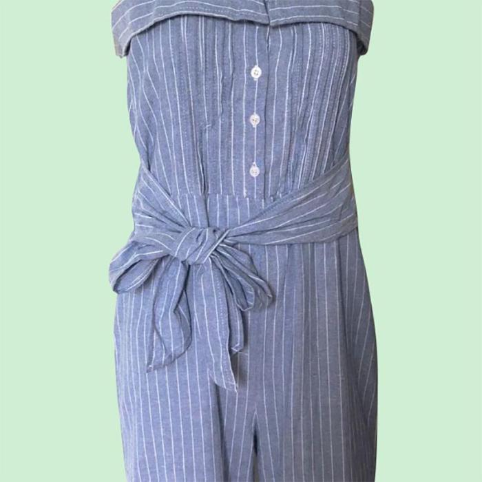 Maternity Casual Striped Single-Breasted Sling Belted Jumpsuit