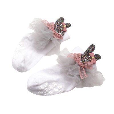 Rabbit Socks Toddler Girls Non-slip Socks Stockings Net Yarn Bowknot Rabbit Terry Socks