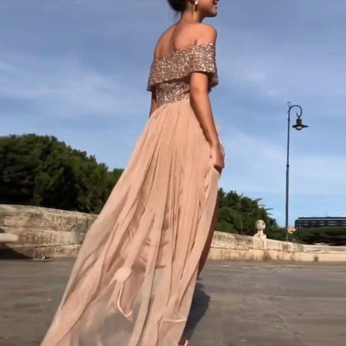 Sexy Off Shoulder Sequin Evening Dress Maxi Dresses