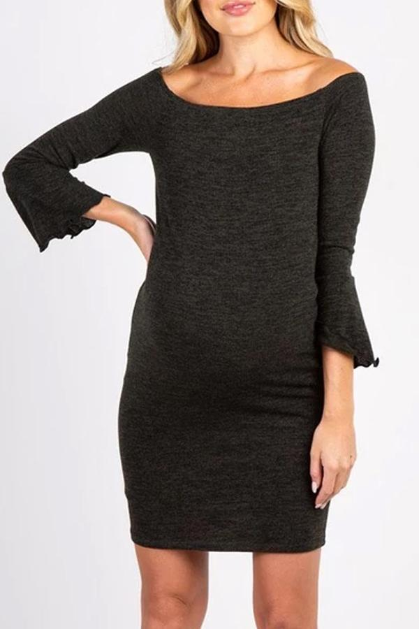 Maternity Sexy Boat Neck 3/4  Sleeves Pure Colour Dress