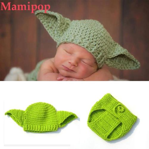 Knitted Baby Beanies and Diaper Covered Pants Cartoon Infant Photography Props