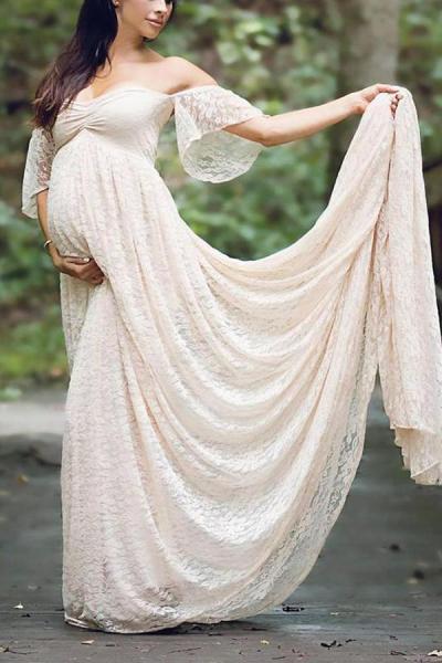 Maternity Off Shoulder Lace Baby Shower Dress
