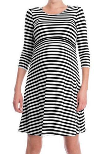 Cotton Striped Pregnant Women Breastfeeding Dress