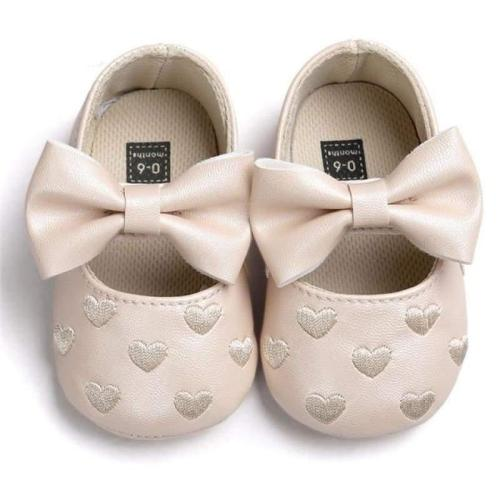 Soft Bottom Bowknot Baby Shoes PU leather Princess Embroidery Bowknot Sneakers Shoes with Heart