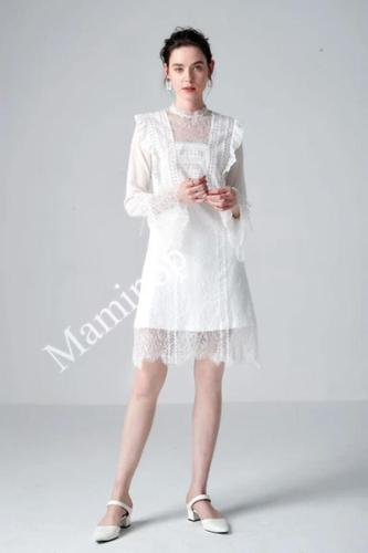 2020 Spring and Summer New Style Women Lace Dress Long Flare Sleeve White O Neck Plus Size