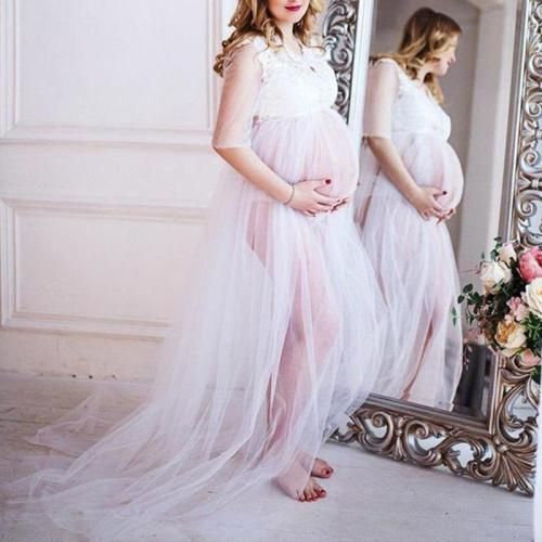 Maternity Sexy Lace Floral Halflong Sleeve Dress