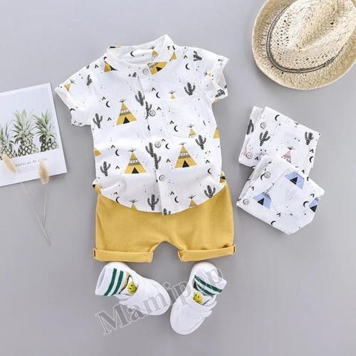Summer 2020 new children pyramid cactus short sleeve shorts Korean shirt two-piece Set