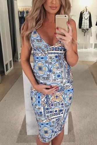 Maternity Wear Sexy V Neck Off-Shoulder Printed Colour Sleeveless Dress