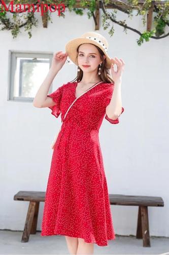 Summer Sexy V Neck Short Sleeve Polka Dot Maternity Dress