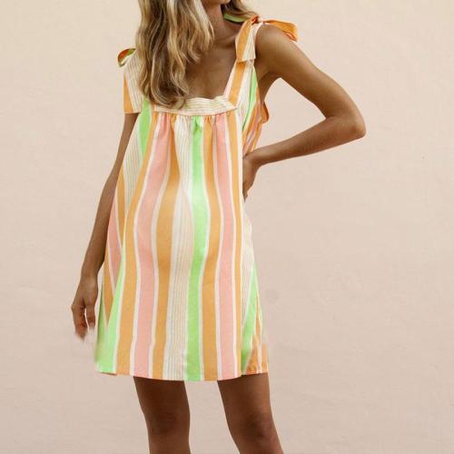 Maternity Candy-Colored Sleeveless Print Dress