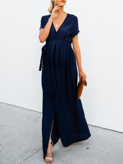 Maternity Commuting V Neck Short Sleeve Pure Colour Dress