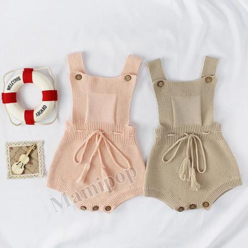 2020 Autumn Tassel Strap Baby Knitting Wool One-piece Clothes