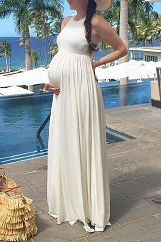 Maternity Sleeveless Elegant Full Length Dress