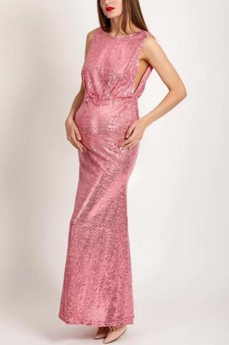 Maternity Sparkling Plain Sequin Round Neck Evening Dress