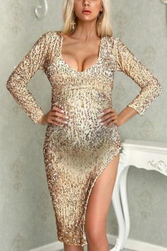 Maternity fashion solid color cultivating long-sleeved sequined dress