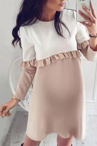 Maternity Wooden Ear Color Matching Long Sleeve Dress