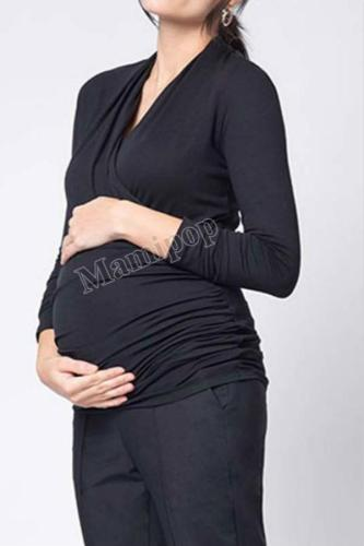 Plus Size V-neck Long Sleeve Maternity Clothing Cross Breastfeeding Top Pregnancy T-shirt