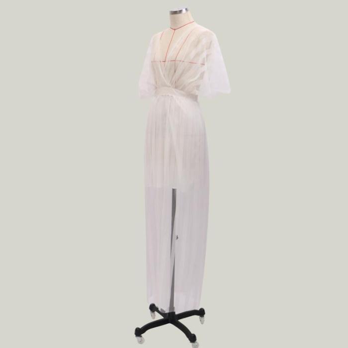 Maternity Casual V Neck  Batwing Sleeve Stripe Dress