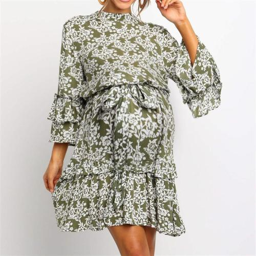 Maternity Casual Petal Sleeve Stand Collar Printed Color Belted Dress