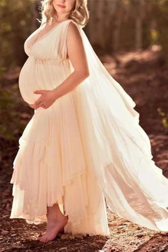 Elegant Backless V-neck Solid Color Irregular Maternity Dress