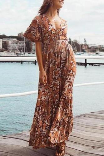 Maternity Plant V-Neck Maxi Dress